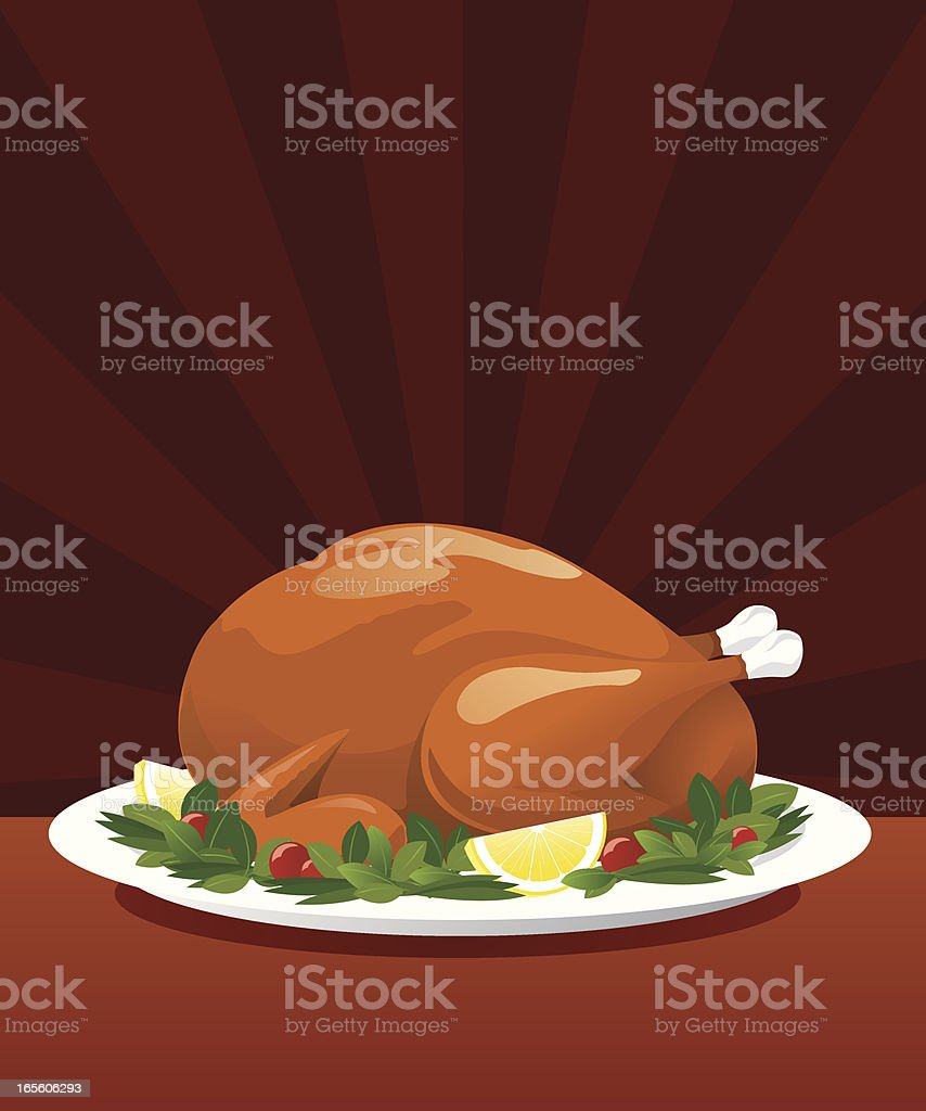 Delicious whole turkey set on a large platter vector art illustration