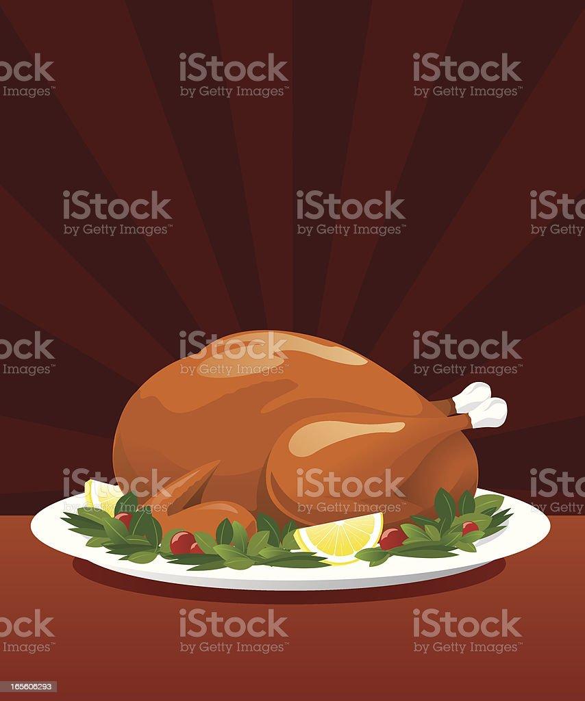Delicious whole turkey set on a large platter vector art illustration