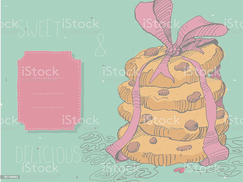 Delightful stack of chocolate chip cookies royalty-free stock vector art