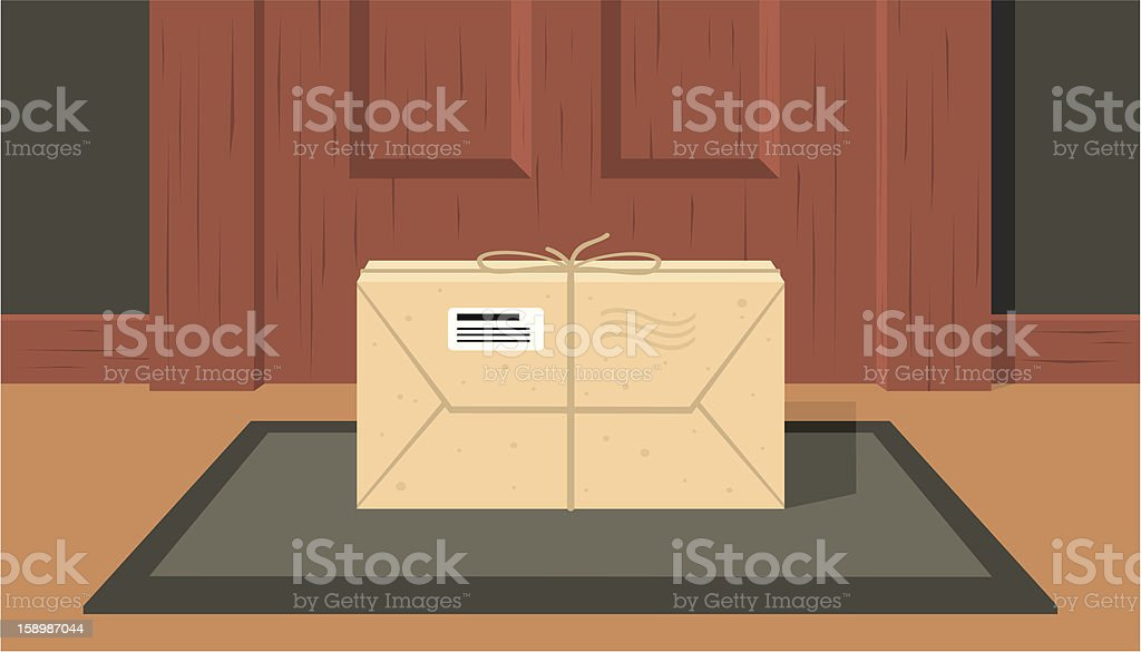 delivered the parcel vector art illustration