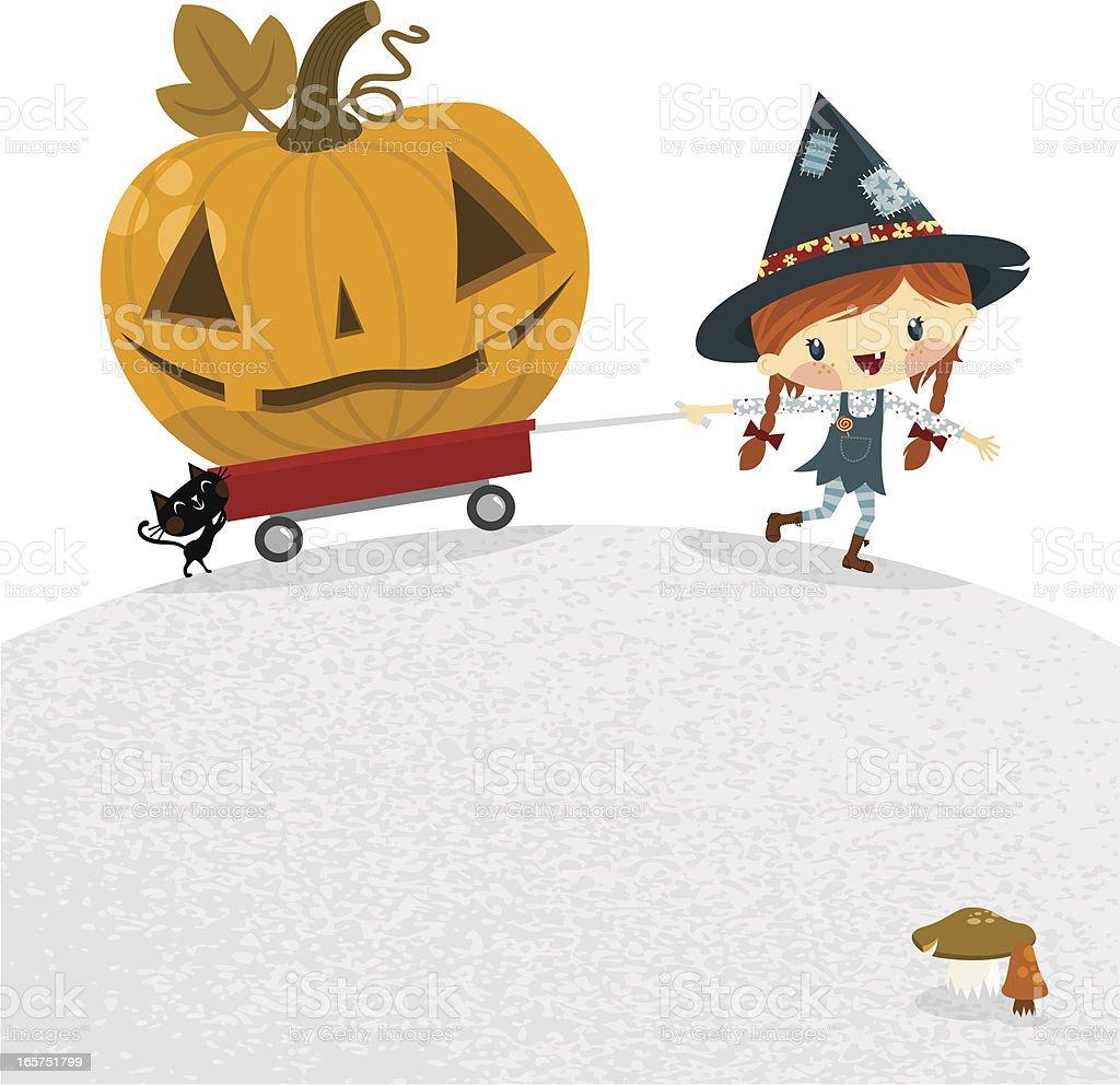 Delivering halloween vector art illustration
