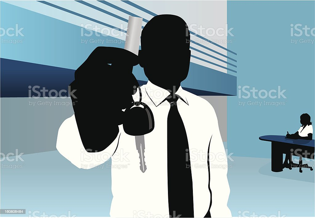Delivering keys vector art illustration