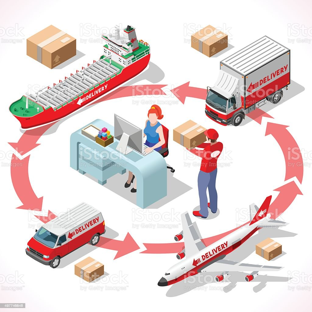 Delivery 02 Infographic Isometric vector art illustration