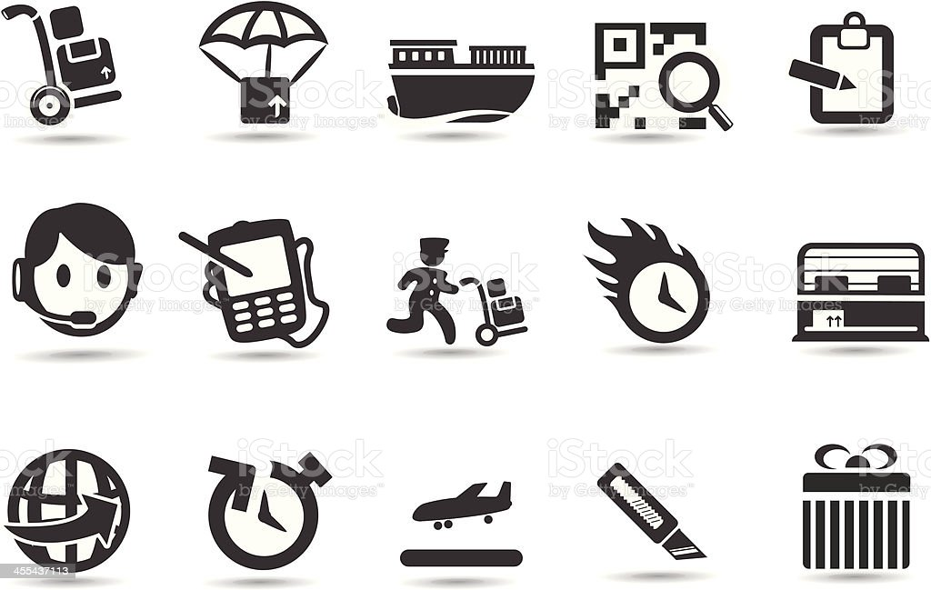 Delivery and Freight Icon Set royalty-free stock vector art