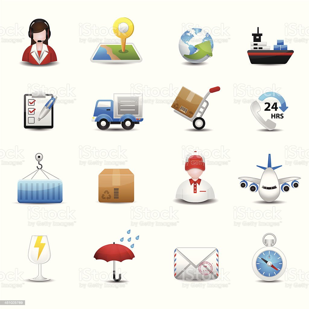 Delivery and Logistic Shipping icons royalty-free stock vector art