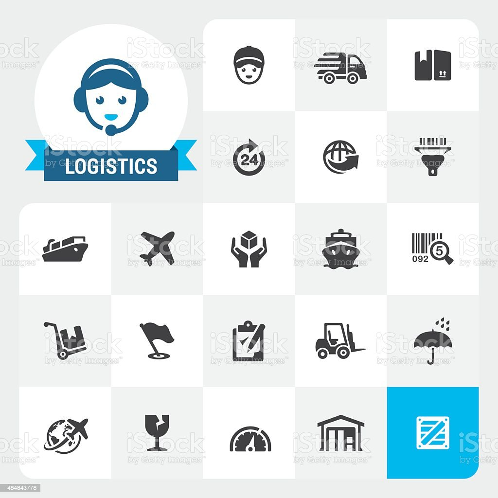 Delivery and Logistics base vector icons and label vector art illustration