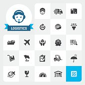 Delivery and Logistics base vector icons and label