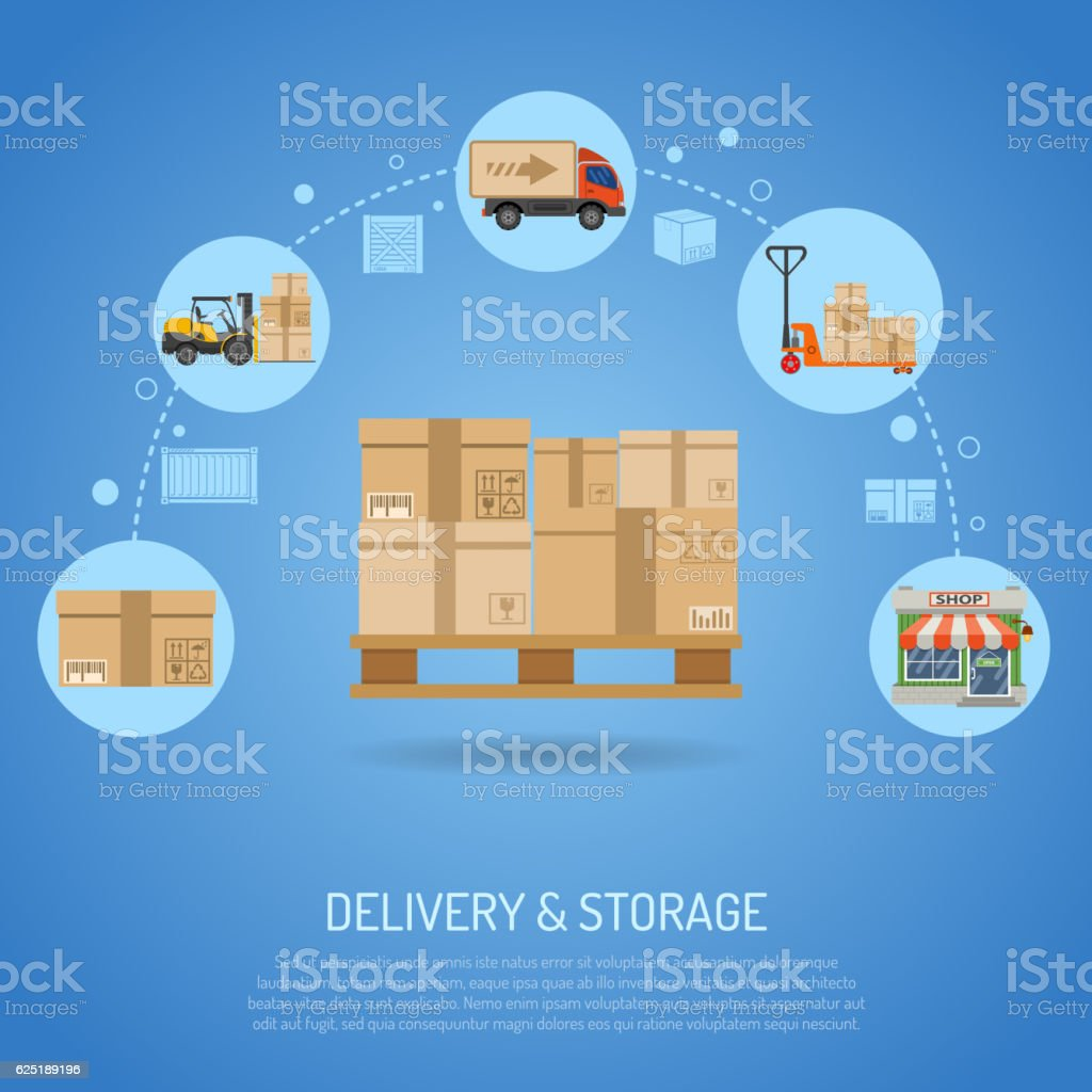 Delivery and storage concept vector art illustration