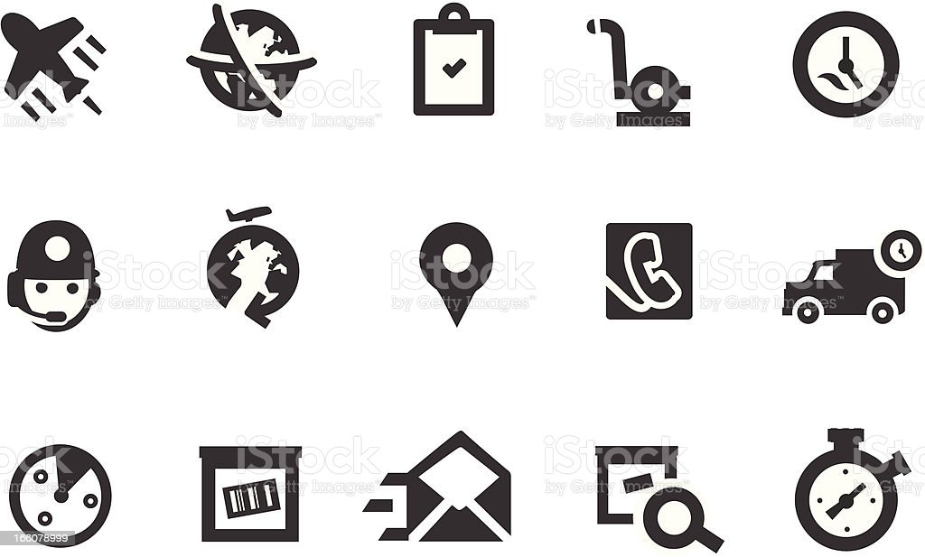 Delivery and Transportation Icon Set royalty-free stock vector art