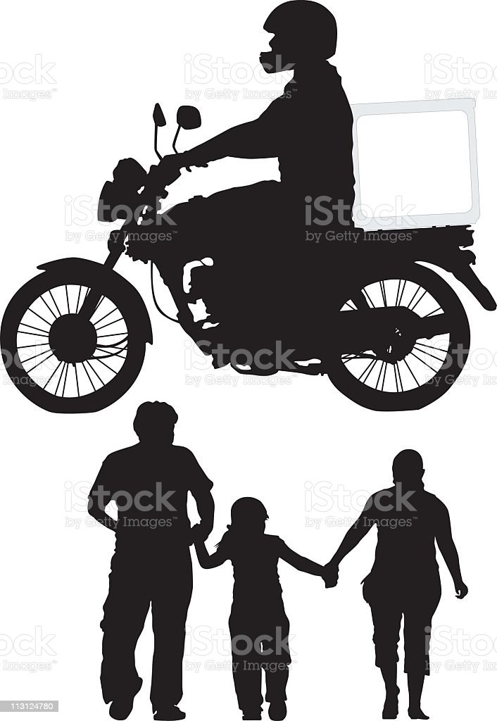 Delivery Bike and Family (Vector) royalty-free stock vector art
