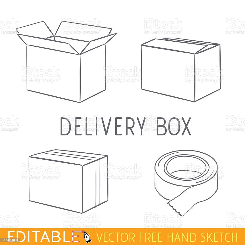 Delivery box icon set. Editable vector graphic in linear style vector art illustration