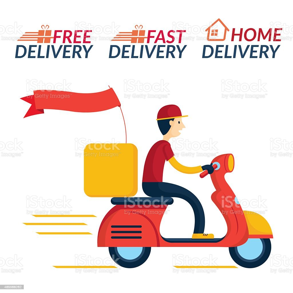 Delivery Boy Ride Scooter Motorcycle Service vector art illustration
