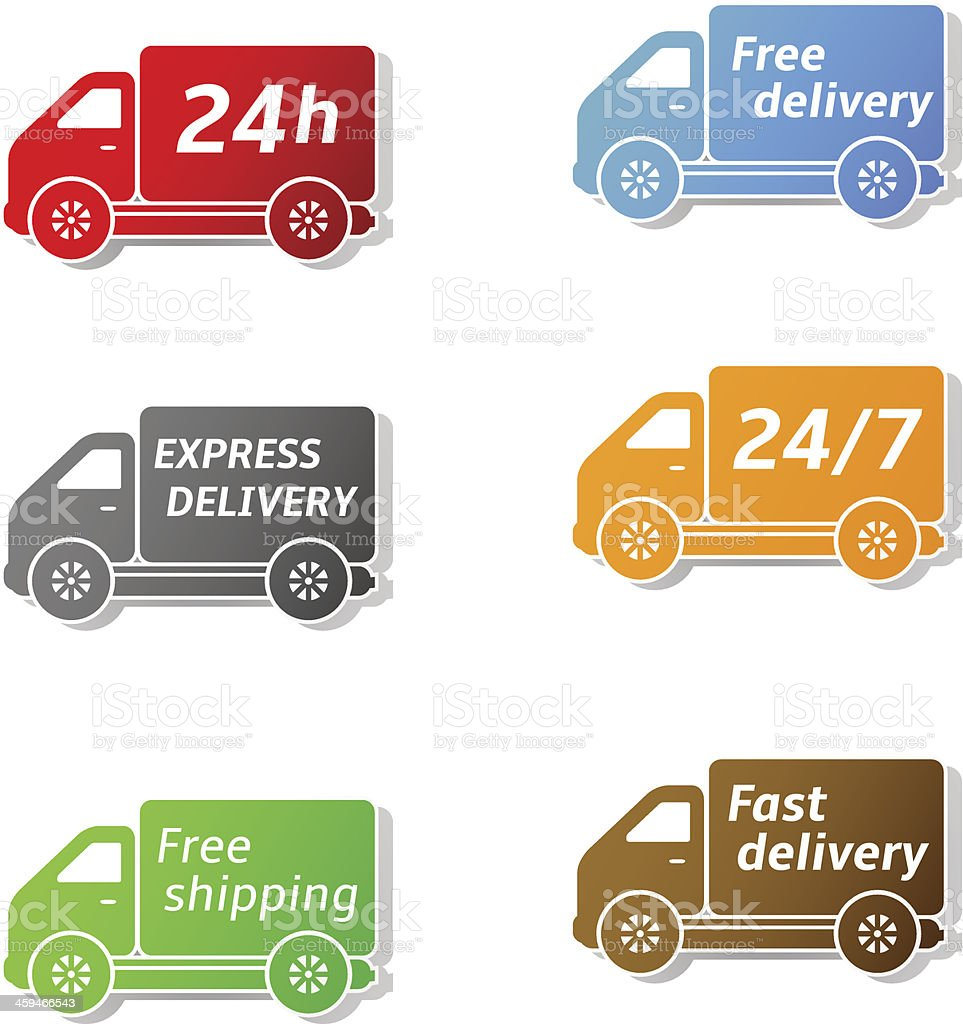 Delivery car icons vector art illustration