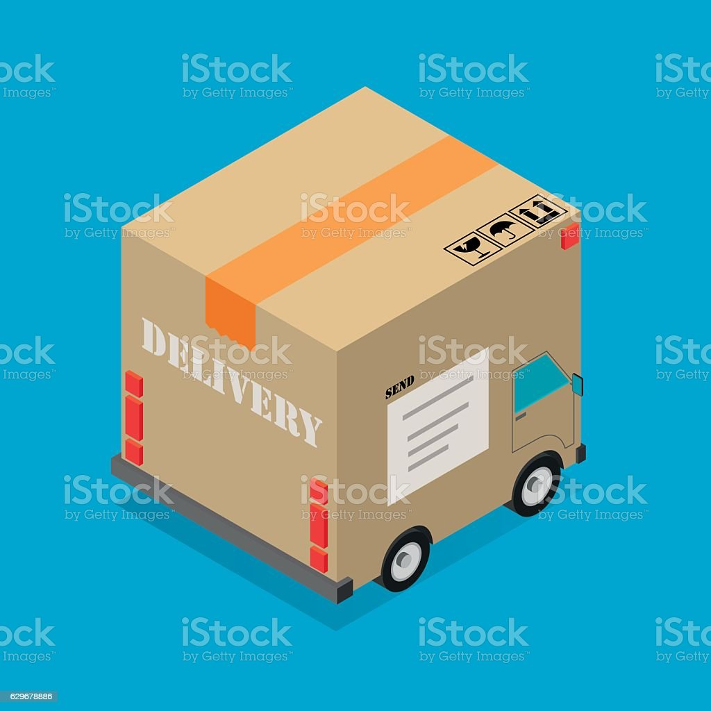 Delivery cardboard box truck vector art illustration