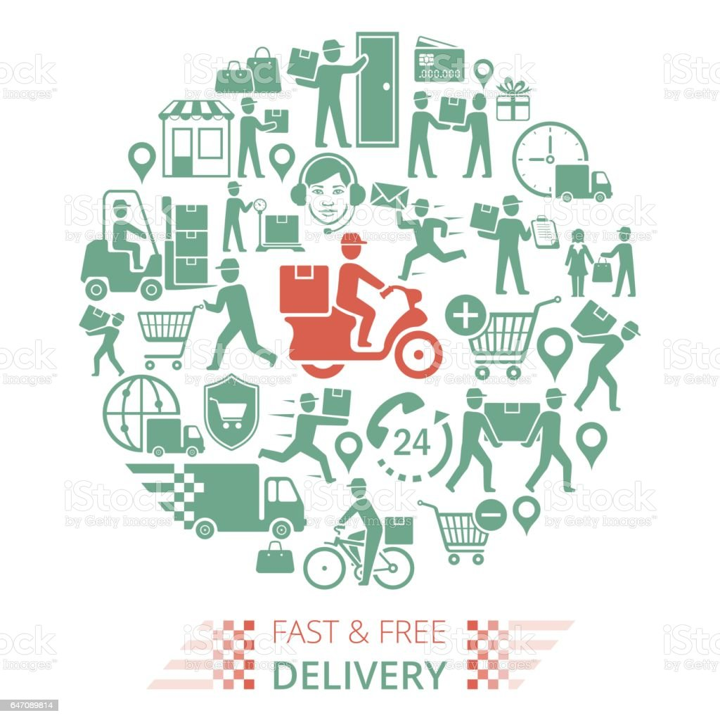 Delivery Collage vector art illustration