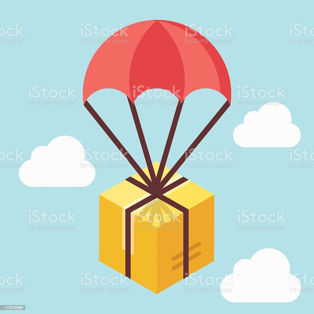 Delivery concept. Brown box floating in blue sky with parachute vector art illustration