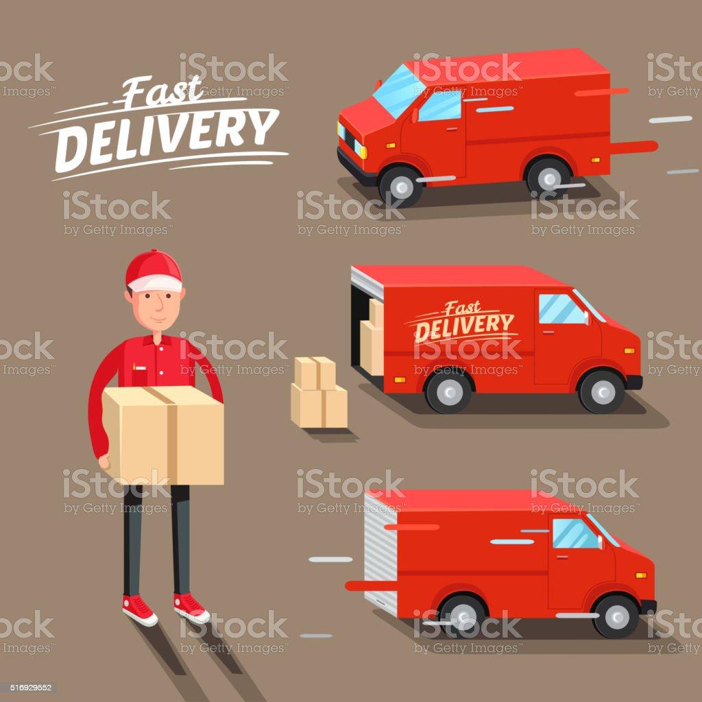 Delivery Concept. Fast delivery van. Delivery man. Vector illustration vector art illustration