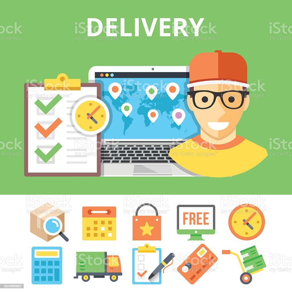 Delivery flat illustration and colorful flat delivery icons set vector art illustration