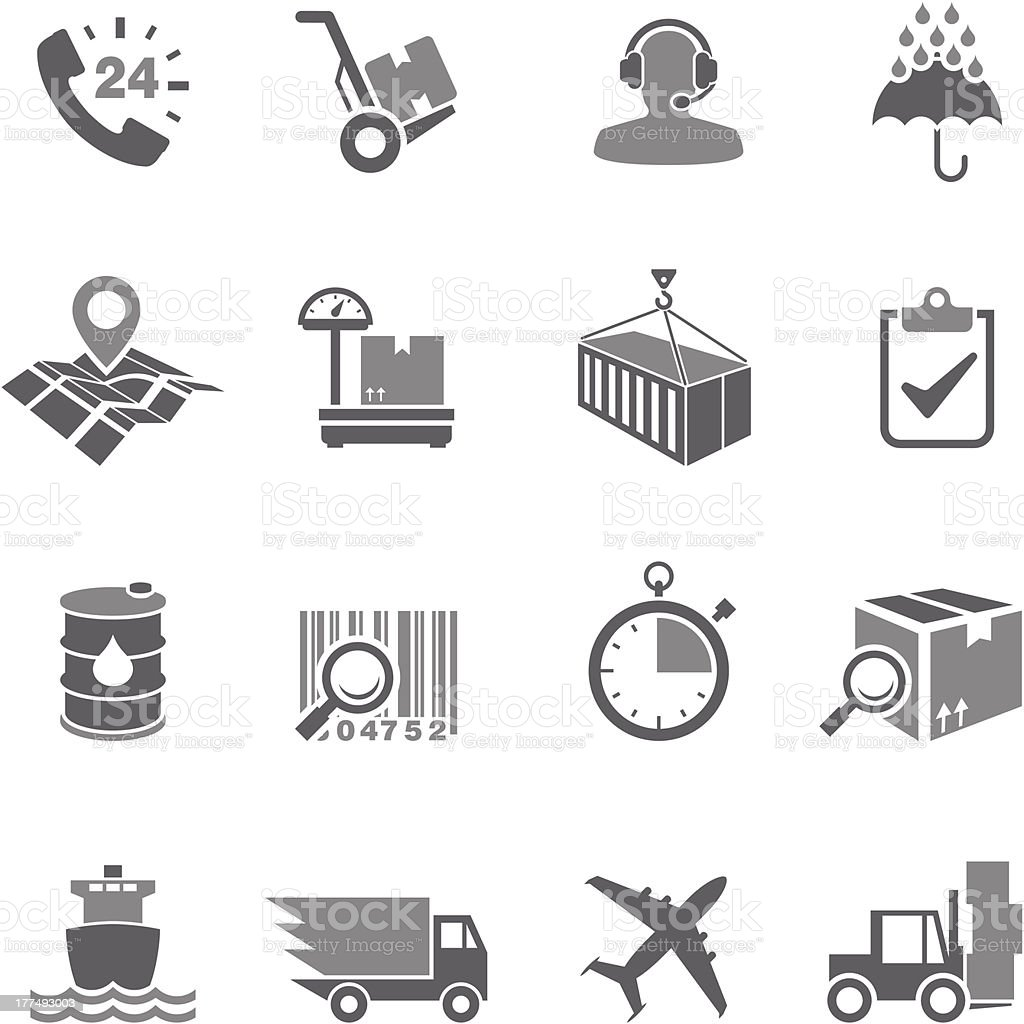 Delivery Icon Set vector art illustration