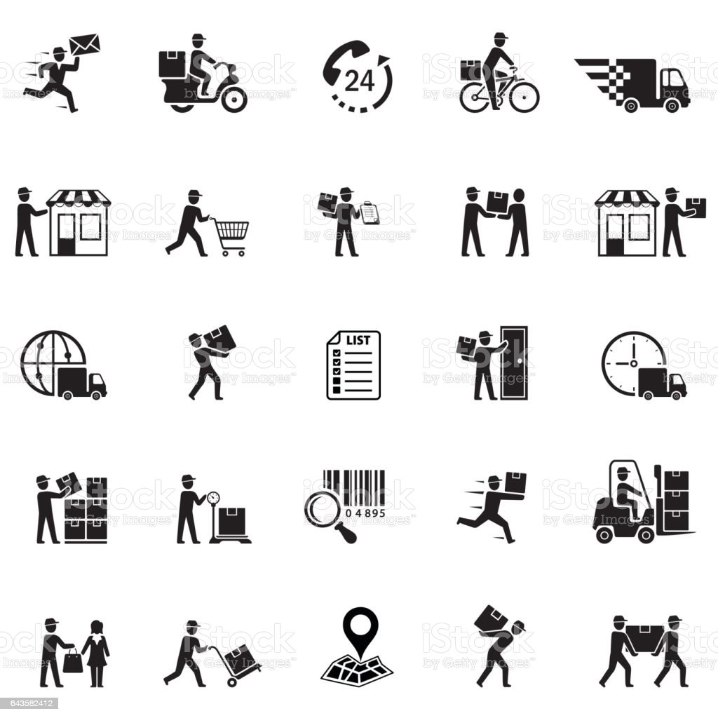 Delivery icons vector art illustration