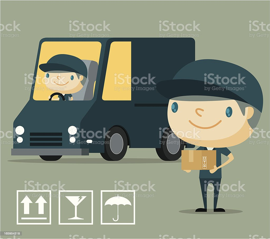 Delivery Man and his Van vector art illustration