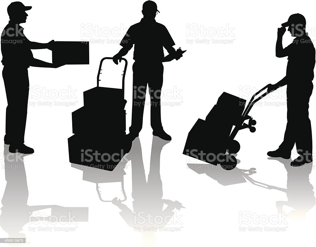 Delivery Man Delivering Boxes with Clipboard royalty-free stock vector art