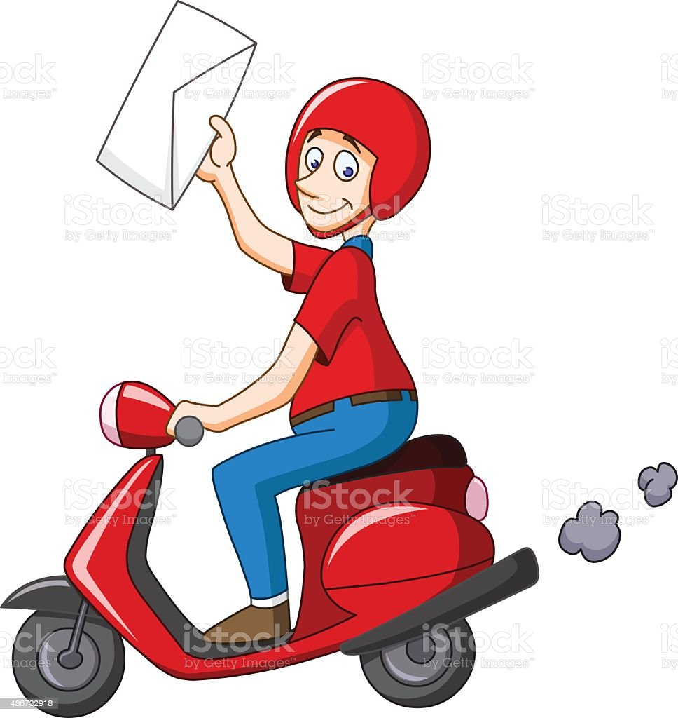 Delivery man on scooter vector art illustration