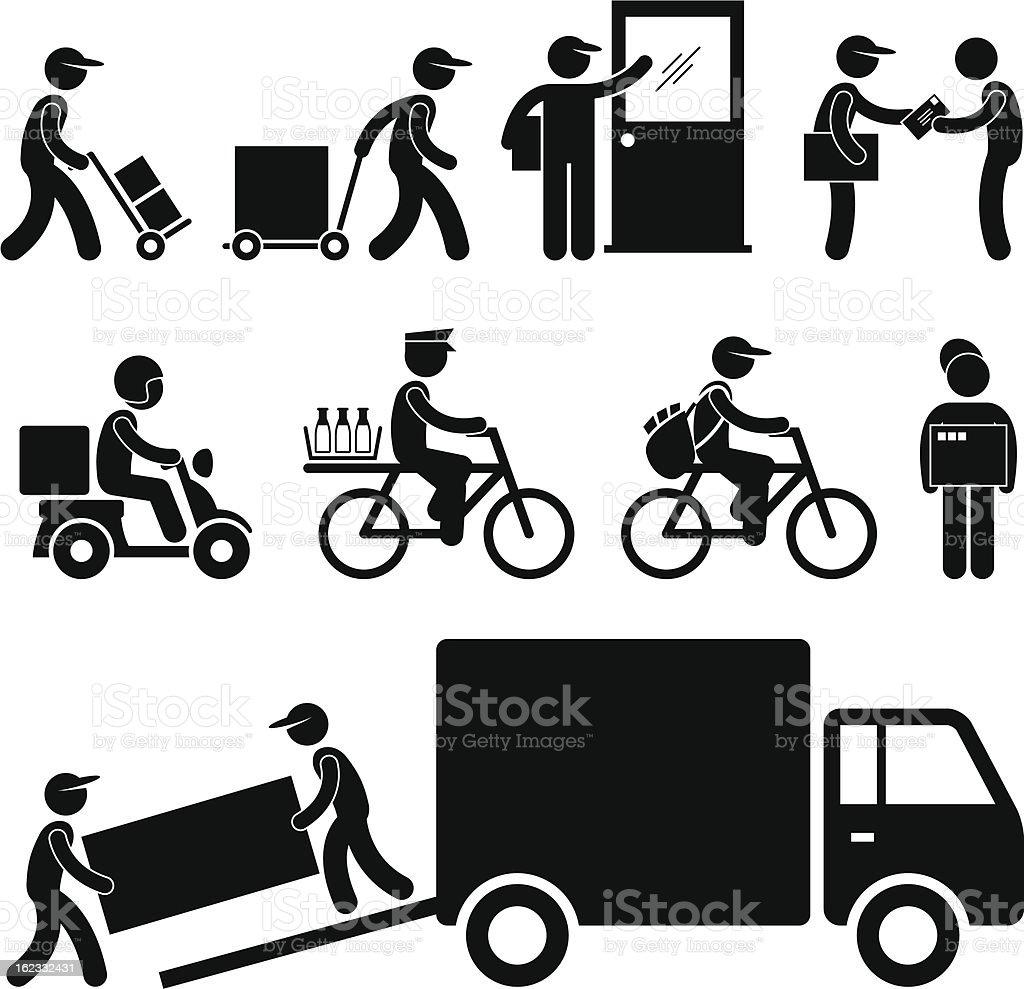 Delivery Man Pictogram vector art illustration