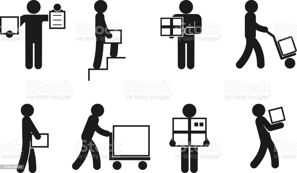 Delivery man poses vector vector art illustration
