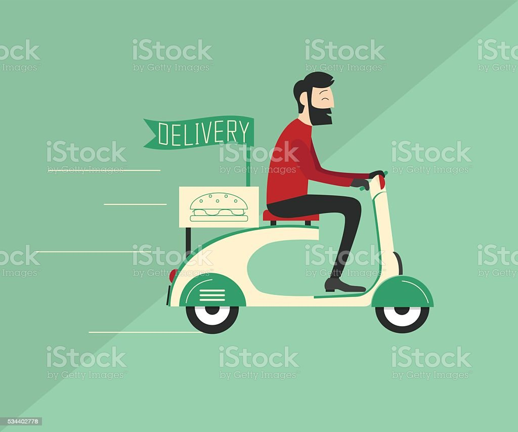 Delivery man riding scooter vector art illustration