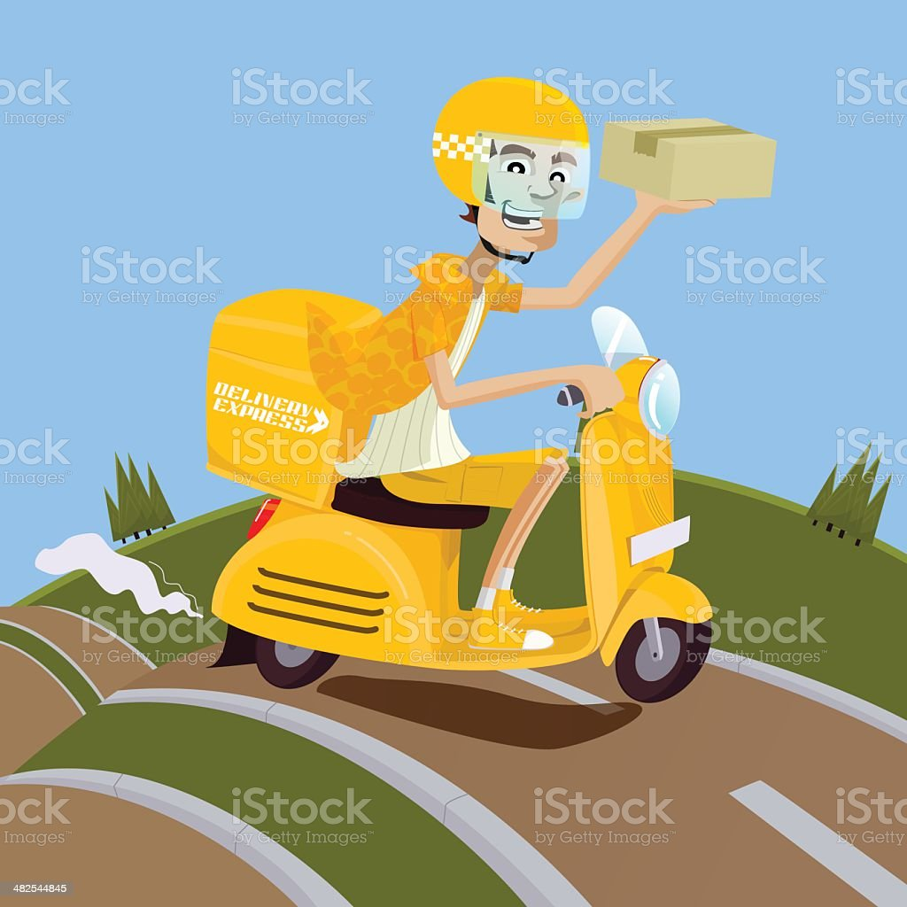 Delivery man riding yellow scooter vector art illustration