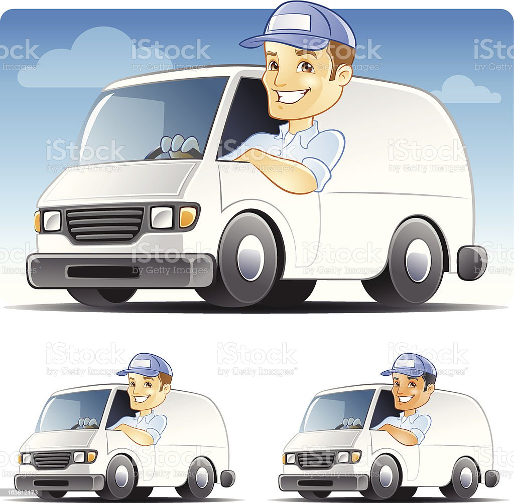 Delivery man, Serviceman, Handyman, Repairman Driving Van royalty-free stock vector art