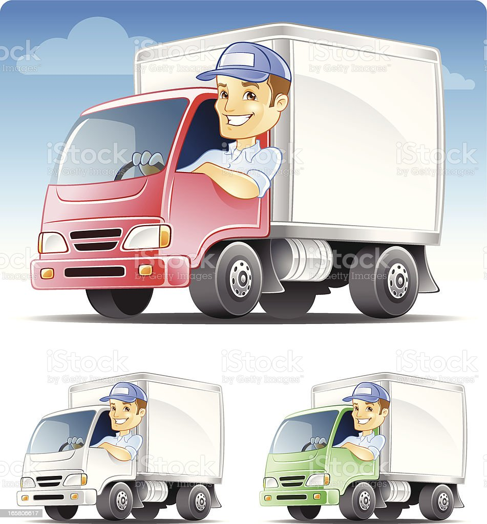 Delivery man, Serviceman, Repairman Driving Commercial Truck vector art illustration