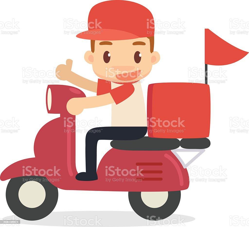 Delivery man vector art illustration
