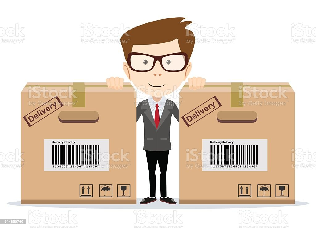 Delivery man with a box vector art illustration