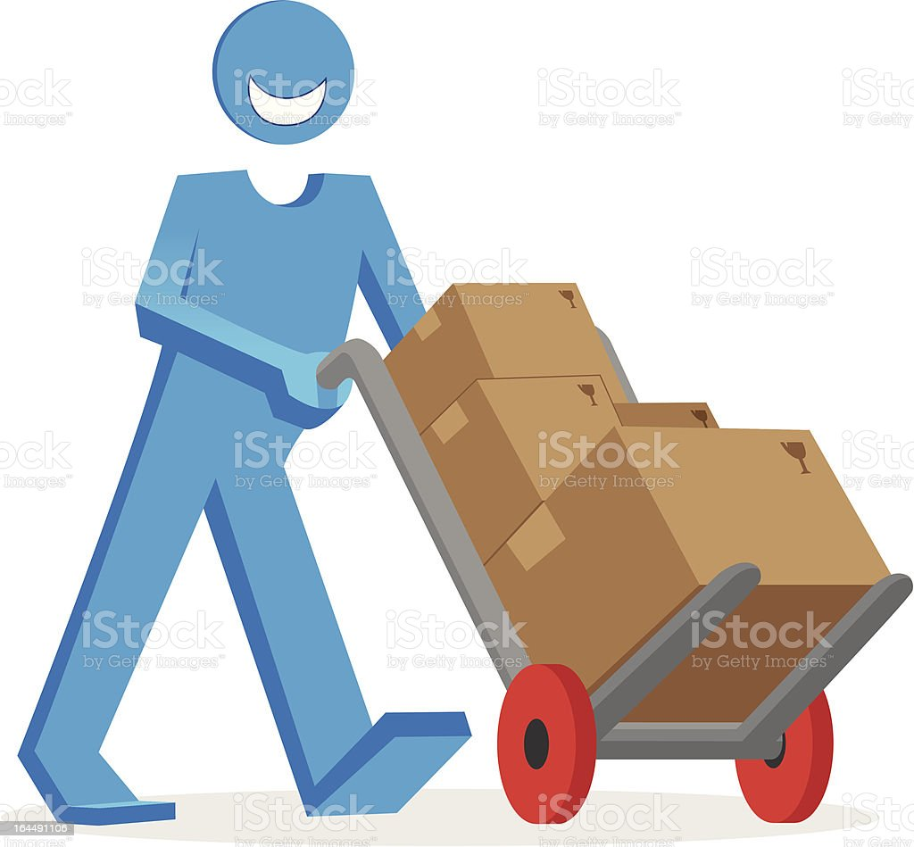 Homem de entrega com caixas vetor e ilustração royalty-free royalty-free