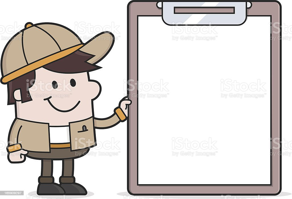 Delivery Man with Clipboard / Blank Sign royalty-free stock vector art