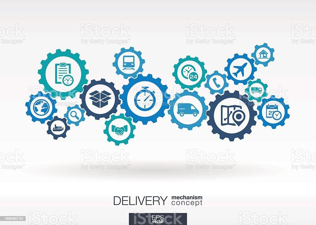 Delivery mechanism vector icons. Logistic concept background illustration. vector art illustration