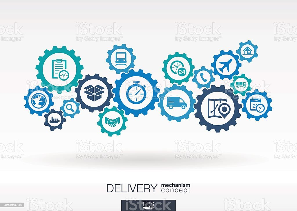 Delivery mechanism vector icons. Logistic concept background illustration. vector art illustration