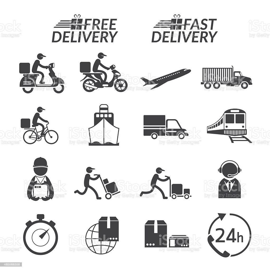 Delivery Monochrome Icons Set vector art illustration