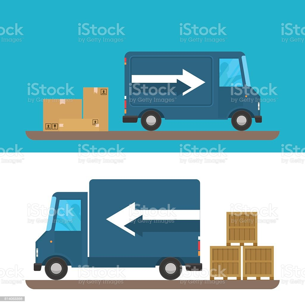 Delivery of goods by car. Pickup van and truck boxes. vector art illustration
