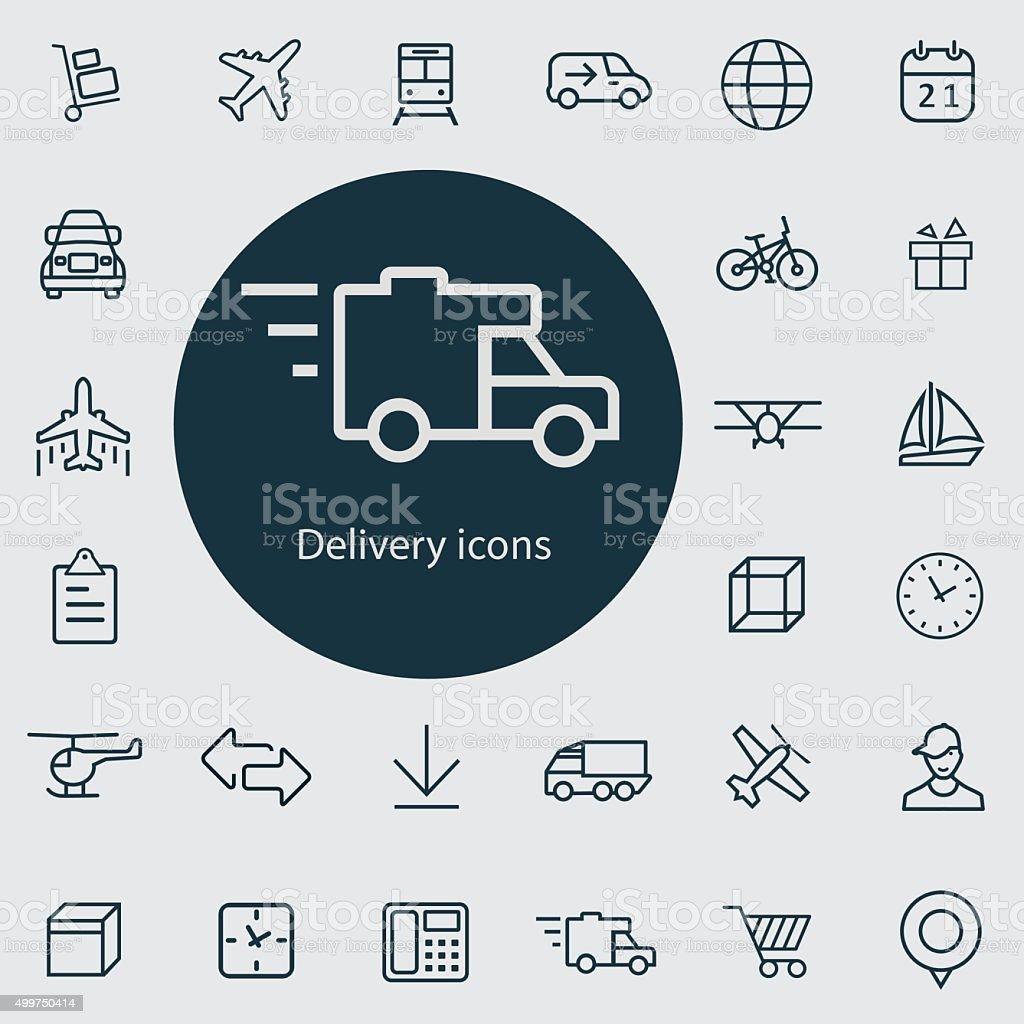 delivery outline, thin, flat, digital icon set vector art illustration