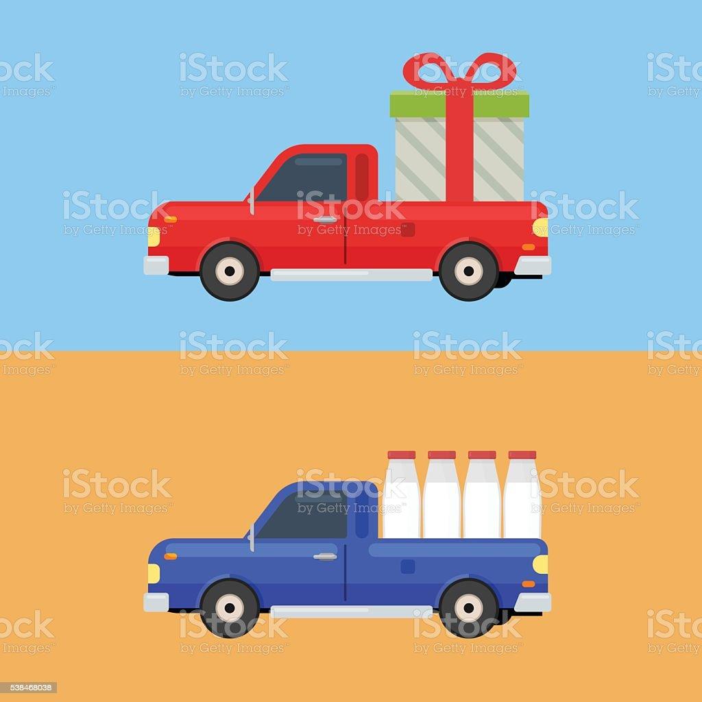 Delivery pickup car vector art illustration