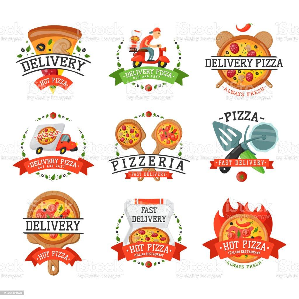 Delivery pizza badge vector illustration vector art illustration