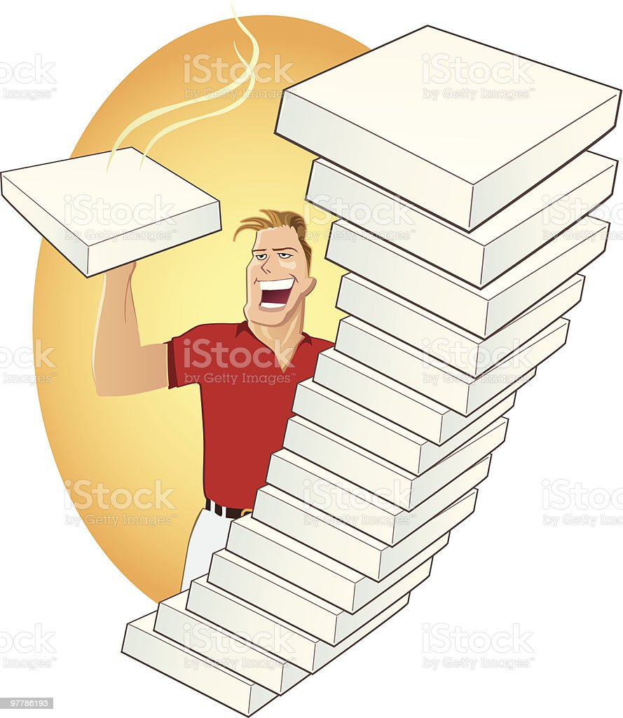 Delivery - Pizza boxes vector art illustration