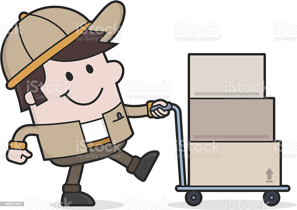 Delivery Service / Deliveryman brings packages - removal man royalty-free stock vector art
