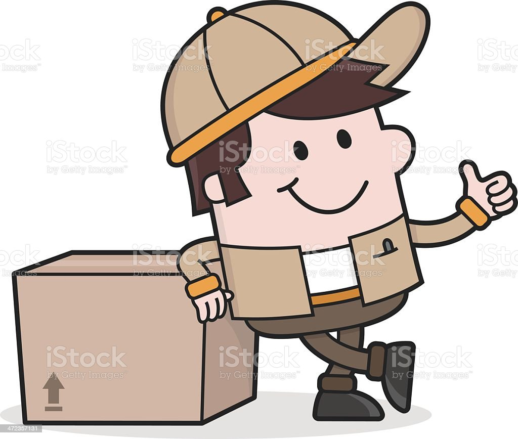 Delivery Service - Deliveryman with Package / everything perfekt royalty-free stock vector art