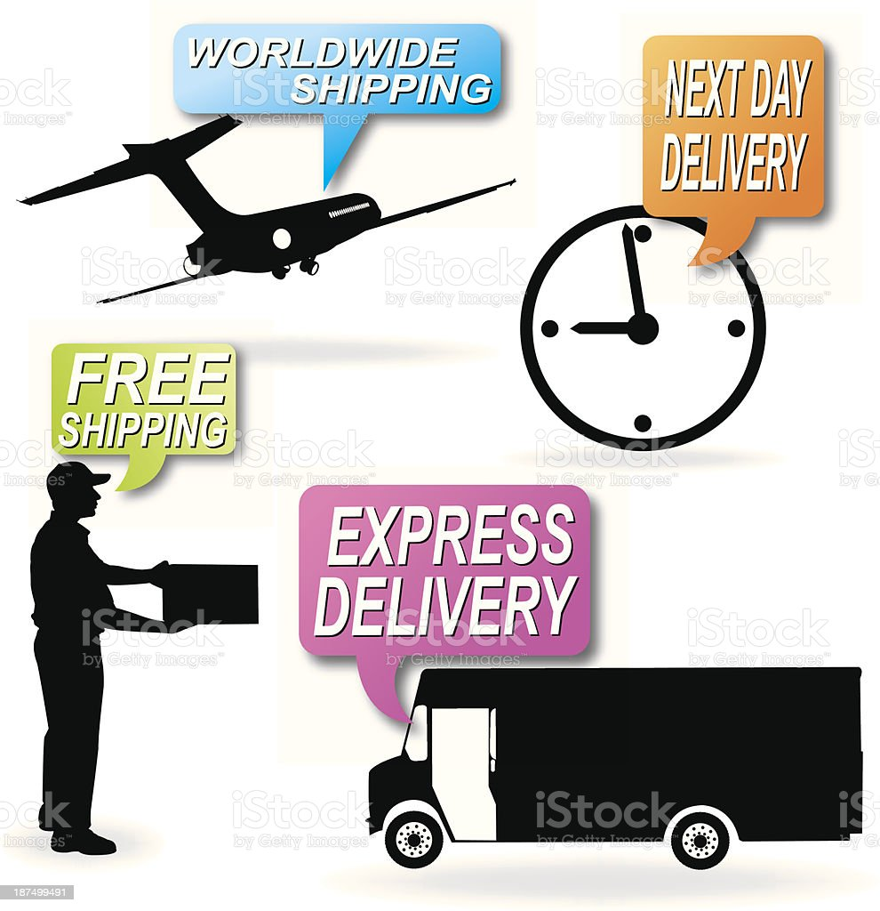 Delivery Service, Free Shipping, Next Day vector art illustration