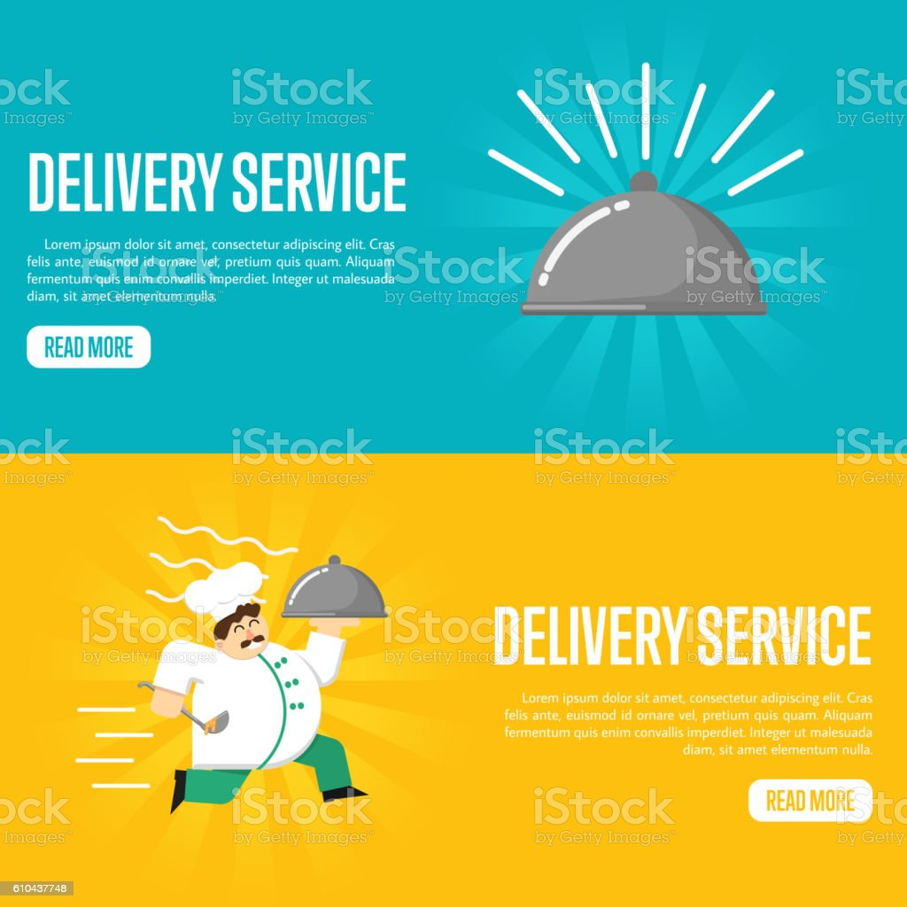 Delivery service horizontal website templates vector art illustration