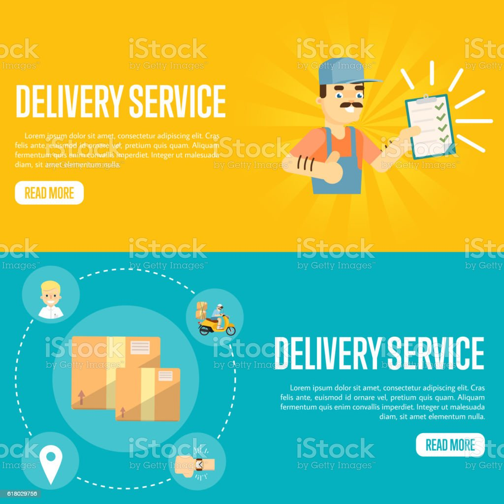 delivery service horizontal website templates stock vector art